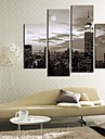 Black And White City Clock in Canvas 4pcs