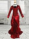 Une Piece/Robes Lolita Classique/Traditionnelle Victorien Cosplay Vetrements Lolita Rouge Couleur Pleine Manches longues Long Robe Pour