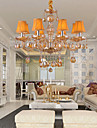Elegant Retro Chandelier 8 Lights Candle Feature Amber Crystal Fabric Shades