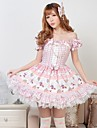 Rosa Söt Pretty Lolita Strapless Princess Dress Classy Lovely Cosplay
