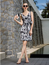TS Couture Cocktail Party Prom Holiday Dress - Elegant Floral Sheath / Column V-neck Knee-length Chiffon with Bow(s) Criss Cross