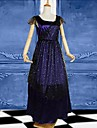 Dark Blue Short Sleeves Satin Victorian Gothic Lolita Dress