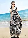 Femei Round Boemia șifon Maxi Beach Dress