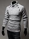 Le mode de cou de tortue lesen hommes mince decoration a double boutonnage decontracte longue tricots a manches o