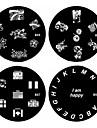 1st nail art stämpel stämpling bildmall platta B-serien No.65-68 (diverse mönster)