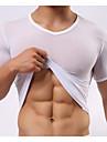 strâns cu maneci scurte ultra-subțire matasoasa sexy t-shirt pentru bărbați