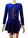 Girl\'s Blue Velvet Long Sleeves Figure Skating Dress(Assorted Size)