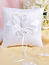 Ring Pillow In White Satin And Lace With Butterfly And Sash