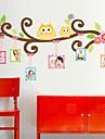 Doudouwo ® 동물 만화 행복 올빼미 프레임 벽 스티커