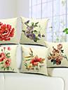 set om 5 land blommor bomull / linne dekorativa örngott