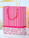 Red Stripy Ivory Board Favor Bags - Set of 12