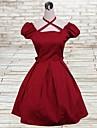 kortärmad knälång röd bomull lolita klänning