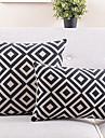 set de 2 alb și negru carouri bumbac / lenjerie decorativ pernă capac