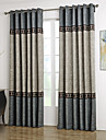 Two Panels Neoclassical Solid Blue / Grey Living Room Polyester Curtains Drapes