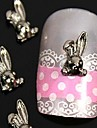 10st 3d diy kanin legering nagel konst dekoration