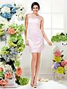 Knee-length Lace Bridesmaid Dress - Blushing Pink Sheath/Column Jewel