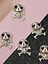 10st söta skalle bling strass 3d legering nail art dekoration