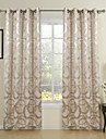 Barroco One Panel Geometric Beige  Grey Bedroom Panel Curtains Drapes