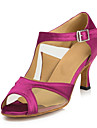 Non Customizable Women\'s Dance Shoes Latin Satin Stiletto Heel Fuchsia