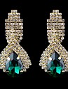 Mode elegant Saphir blauen Wassertropfen Strass Ohrringe mit Kristall Ohrringe (blau, gruen, weiss) (1 Paar)
