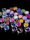 24PCS Glitter Powder Sequins &12PCS Nail Art Sculpture Carving Acrylic Powder