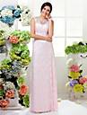 Floor-length Lace Bridesmaid Dress - Blushing Pink Sheath/Column Jewel