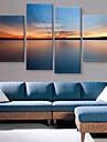 sträckta canvas art den tysta sjön under solljus liggande uppsättning av 4