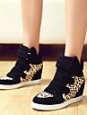 Sneakers de diseno ( Negro/Rojo Zapatos con plataforma/Punta cerrada - Tacon Cuna - Lienzo - para MUJERES