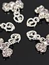 10st silver Strass bowtie med ihåliga hjärta dingla 3d legering nail art dekoration