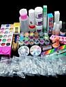82pcs acryliques liquides de poudre set brosse amorce fichier uv colle a ongles kits