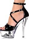 Women\'s Summer Heels / Platform Leatherette Party & Evening Stiletto Heel Crystal / Applique / Buckle / Crystal Heel Black