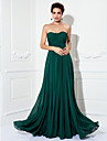 Prom / Formal Evening / Military Ball Dress - Open Back Plus Size / Petite A-line / Princess Strapless Sweep / Brush Train Chiffon with