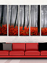 Sträckt kanvaskonst med landskapsmotiv - disig morgon (set om fem)