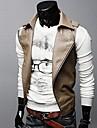 Men\'s Lapel Collar Inclined Zipper Locomotive Leather Vest