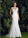 Lanting Bride® Trumpet / Mermaid Petite / Plus Sizes Wedding Dress - Chic & Modern Court Train V-neck Charmeuse with Appliques / Beading