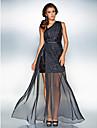 Teacă / coloană un umăr podea lungime sifon șifon rochie de bal brățară withsash / panglică lateral draping împărțit de ts couture®