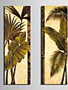 Sträckta kanvas Botaniska gröna blad Set om 2
