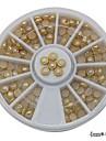 100st vit pärla metall kantlist hjul nail art dekoration