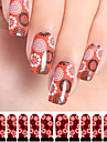 12pcs cercle motif filigrane rouge ongles art autocollants c3-004