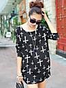 Vrouwen Eenvoudig / Street chic Lente / Herfst / Winter T-shirt,Casual/Dagelijks Print Ronde hals Lange mouw Meerkleurig Kasjmier Medium