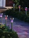 pack de 8 Changement de couleur a l\'energie solaire a conduit rechargeable jardin pelouse lumiere en acier inoxydable