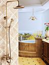 antik mässing badkar duschblandare med 8 tums duschmunstycke + handdusch