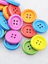 soild couleur album scraft coudre des boutons en bois de bricolage (10 pieces couleur aleatoire)