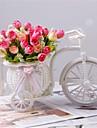 """1 Une succursale Polyester Plastique Roses Fleur de Table Fleurs artificielles #(L:6.7"""",H:3"""",W:6.2"""")"""
