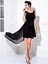 Cocktail Party / Prom Dress - Black Plus Sizes / Petite Sheath/Column Scoop Knee-length Chiffon / Stretch Satin