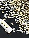 14400pcs punk kvadrat nit legering nail art dekorationer -guld / silver för att välja 3x3mm