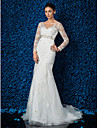 Lanting Bride Trumpet/Mermaid Petite / Plus Sizes Wedding Dress-Sweep/Brush Train V-neck Lace / Tulle