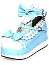 Chaussures Doux Princesse Semelle compensee Chaussures Noeud papillon 7 CM Incanardin / Bleu Pour Femme Cuir PU/Cuir polyurethane