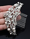 9.6cm Women\'s Wedding Prom Flower Girl Leaves Hair Comb with Rhinestone and Imitation Pearl