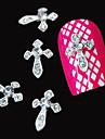 10st silver svärd 3d klar rhinestone DIY tillbehör legering nail art dekoration